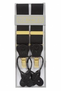 Classic Plain Black Y Back 2 in 1 Combination Trouser Braces With Rolled Leather Ends and Clips